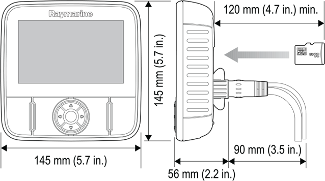 Dragonfly 4 and 5 Dimensions | Raymarine by FLIR