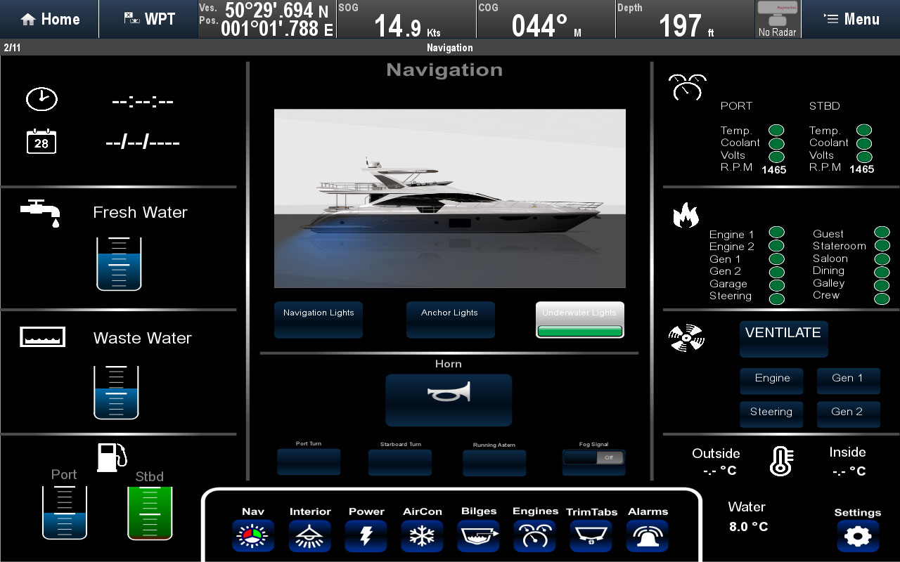 Digital Switching Split Screen Layout | Raymarine by FLIR